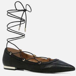 New Aldo Alize Black Lace Up Leather Flats
